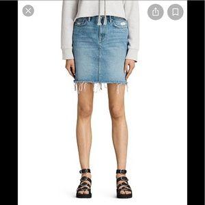 All Saints Kim Denim Frayed Skirt